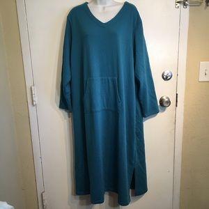 Blair Plus Size Blue Fleece Lined Sweatshirt Dress